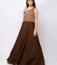 Sheczzar Brown Color Crepe Floor Length  Party wear Gown.
