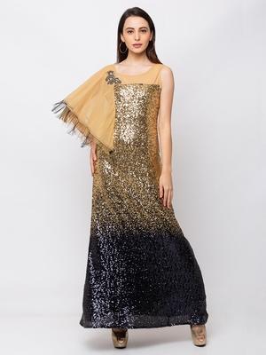Sheczzar Gold Color LYCRA  Floor Length  Party wear Gown.
