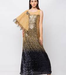 Sheczzar Gold Color LYCRA  Floor Length  Party wear Gown.