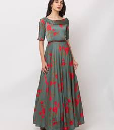 Sheczzar Green Color SATIN  Floor Length  Party wear Gown.