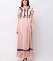 Sheczzar Peach Color COTTON Floor Length  Party wear Gown.