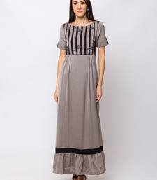 Sheczzar Grey Color Cotton Floor Length  Party wear Gown.