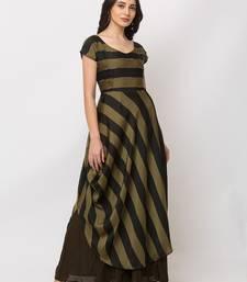 Sheczzar Bottle Green Color Striped Floor Length Party wear Gown.