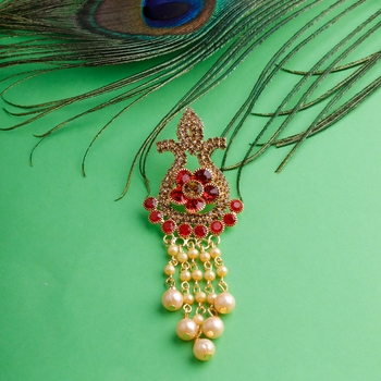 Traditional Gold Plated Antique Red Colour Diamond Studded Pearl Drop Designer Wedding Brooch For Unisex Jewellery