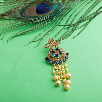 Traditional Gold Plated Antique Peacock Colour Diamond Studded Pearl Drop Designer Wedding Brooch For Unisex Jewellery