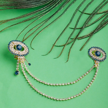 Traditional Gold Plated Exlusive Peacock Colour and White Diamond Studded Designer Wedding Brooch For Unisex Jewellery