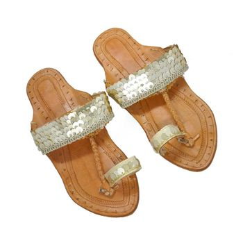 Golden coins Kolhapuri Chappal Color Gold Pure Leather Flat Women Footwear