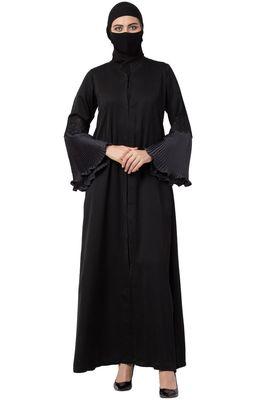 Musheco-Black Abaya In Nida Fabric
