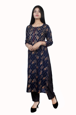 18 FOREVER V R FOR U GOLD PRINTED AND FRONT HAND WORK EMBROIDERY KURTA WITH PALAZZO SET ( NAVY BLUE )