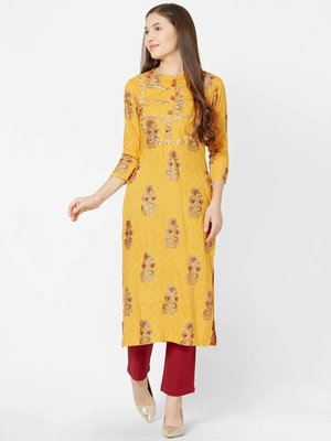 Yellow embroidered viscose rayon kurtas-and-kurtis