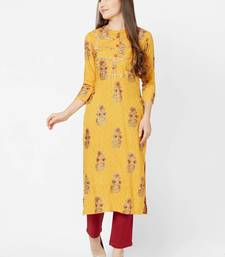 Yellow embroidered viscose rayon kurtas-and-kurtis