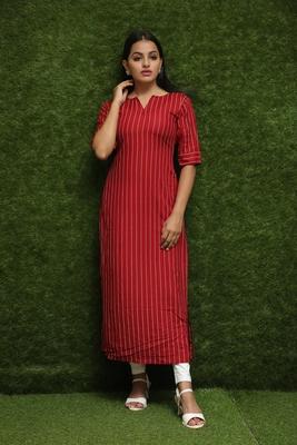 Women Red Long Kurti For Girls