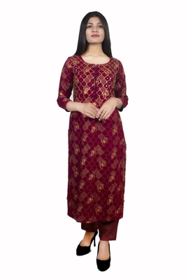 18 FOREVER V R FOR U GOLD PRINTED AND FRONT HAND WORK EMBROIDERY KURTA WITH PALAZZO SET ( Maroon )