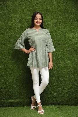 Women Green Short Kurti Top For Girls