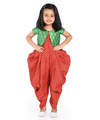 Twisha Stylish Sphagetti  PST Printed dhoti Jumpsuit With Brocade Jacket :- Maroon