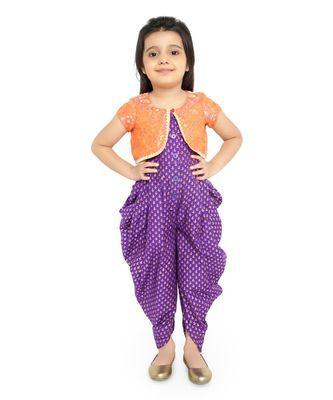 Twisha Stylish Sphagetti  PST Printed dhoti Jumpsuit With Brocade Jacket :- Purple