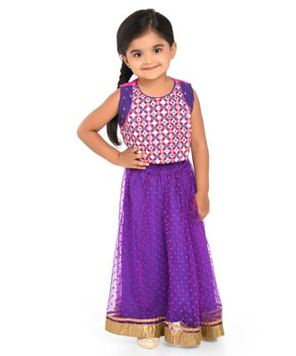 Twisha Mirror Embroidery blouse with polka flock print net lehanga - Purple