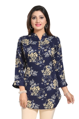 Navy-blue printed crepe short-kurtis