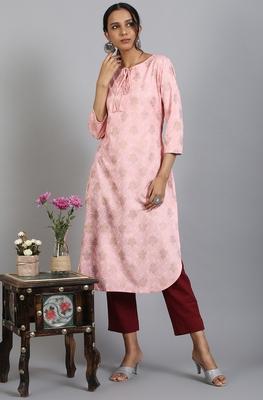 Light-pink printed rayon ethnic-kurtis