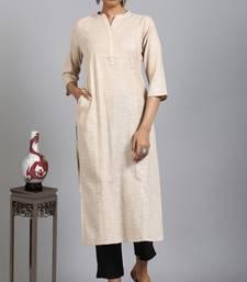 Beige printed cotton ethnic-kurtis