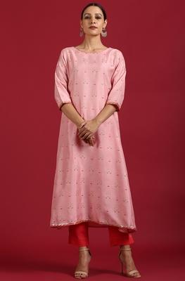 Pink printed silk ethnic-kurtis