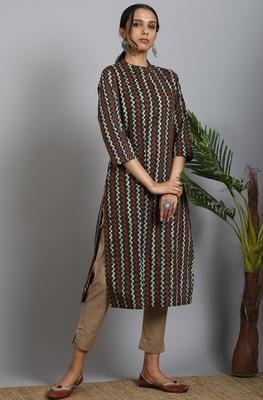 Dark-green printed cotton ethnic-kurtis