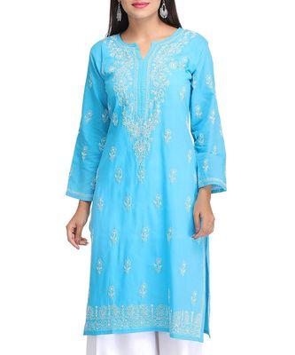 Ada Hand Embroidered Blue Cotton Lucknow Chikankari Kurti