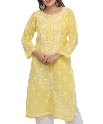 Ada Hand Embroidered Yellow Pure Cambric Cotton Lucknow Chikankari Kurti