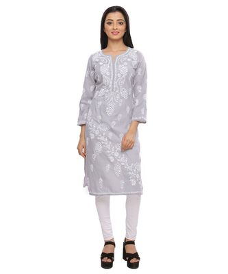Ada Hand Embroidered Grey Cotton Lucknowi Chikankari Kurti