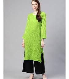 Ada Hand Embroidered Green Georgette Lucknow Chikankari Kurti