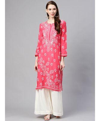 Ada Hand Embroidered Pink Cotton Lucknowi Chikan Kurti