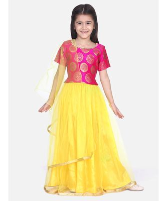 red Chiffon Brocade Lehenga choli for Girls