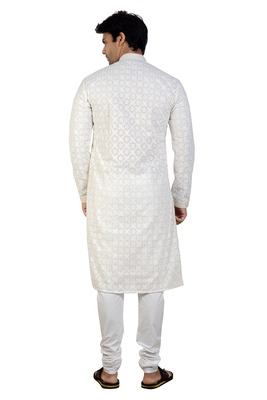White embroidered georgette kurta-pajama