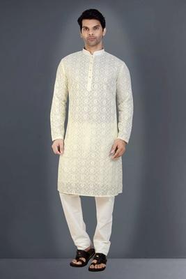Off White embroidered georgette kurta-pajama