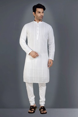 White embroidered georgette kurta-pajama