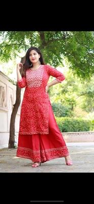 Rayon embroidered ethnic kurti with plazo skirt