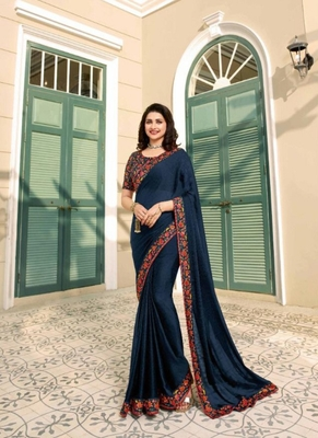 Dark navy blue embroidered silk saree with blouse