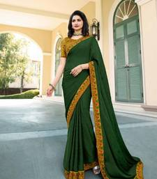 Mehendi embroidered silk saree with blouse