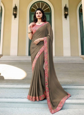 Dark slate grey embroidered silk saree with blouse