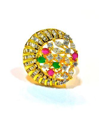 Multi Gemstone Golden Cocktail Ring