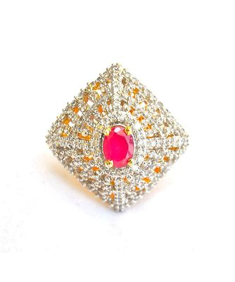 Modern Ruby Diamond Cocktail Ring