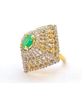Modern Emerald Diamond Cocktail Ring