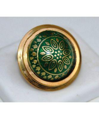 Green Gold Enamel Cocktail Ring