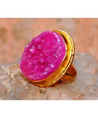 Pink Druzy Cocktail Ring