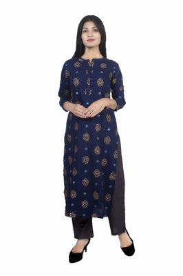 18 FOREVER V R FOR U WOMEN RAYON HAND WORK EMBROIDERY KURTA WITH PALAZZO SET