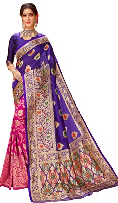 New Stylish Blue & Pink Color Banarasi Half & Half Cotton Silk Saree