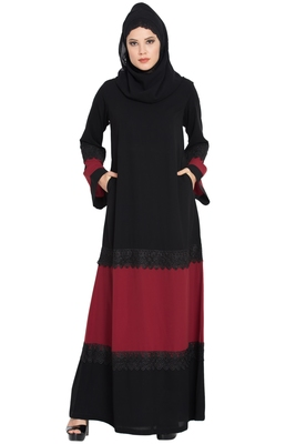 Modest Dress with Inserted Panels in Contrast-Not An Abaya