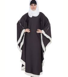 Farasha Kaftan Abaya with White Lace Borders-Dark Grey