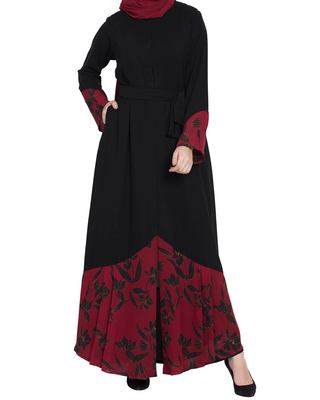 Front Open-Dress With Printed Georgette Panel-Not An Abaya