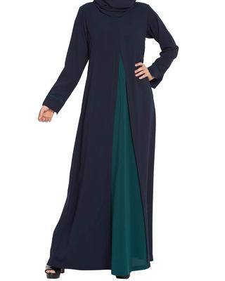Whimsical Dress Abaya in Dual Color with Zipper-Navy Blue-Green